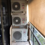 3 MHI AIRCONS ON APARTMENT BLOCK PATIO